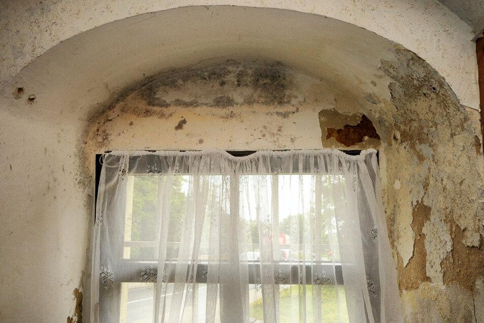 Feuchtigkeit und Schimmel zeigen sich sehr drastisch in einer Fensterleibung direkt an der Straße.