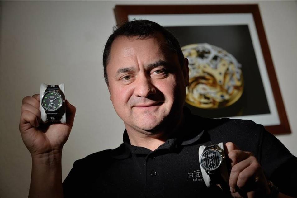 Uhrmacher Mathias Elbe steigt im Sommer 2013 als Direktor für Einkauf und Entwicklung bei Hemess ein. Er stellt neue Uhren vor. Das Besondere: Es kommen Holz und Kautschuk zum Einsatz.