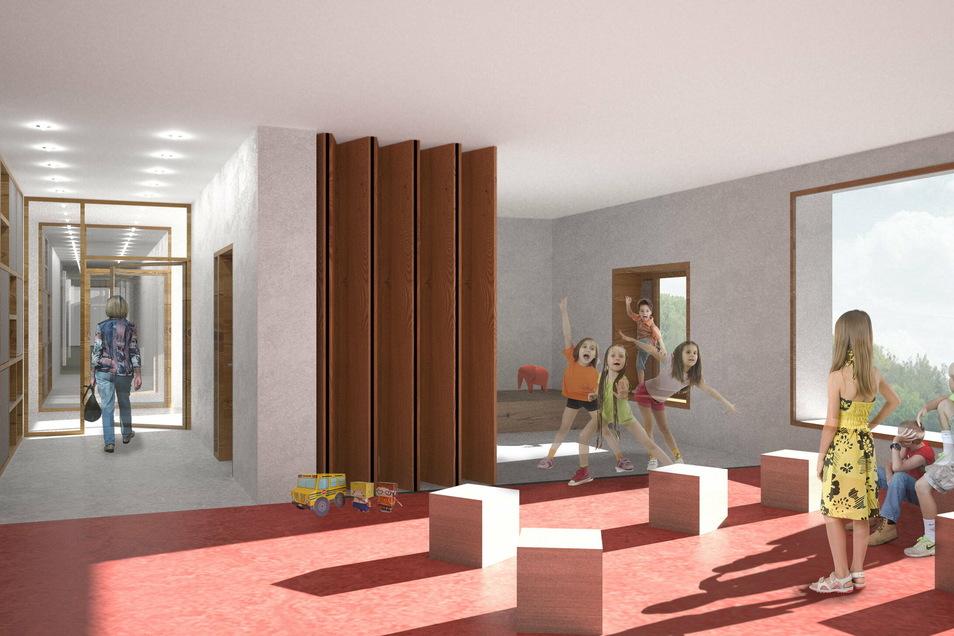 Ein Blick in das neue Hortgebäude: Neben Bereichen zum Spielen soll es dort Ateliers für künstlerische Aktivitäten und eine Kinderwerkstatt, einen Sport- und Bewegungsbereich sowie Leseecken geben.