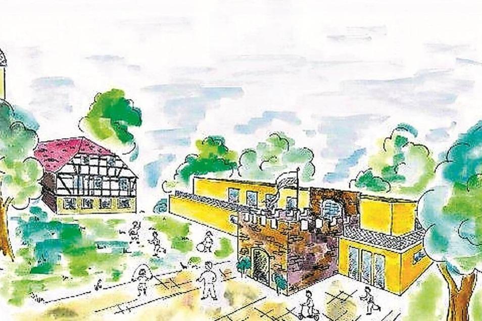 So in etwa könnte der neue Wehrsdorfer Kindergarten aussehen, wenn der untere Teil des Turmes einbezogen wird. Dem Bürgermeister gefällt diese Variante gut. Der Denkmalschutz will noch ein weiteres Stockwerk erhalten. Entwurf: Planungsbüro Grosche, Freibe