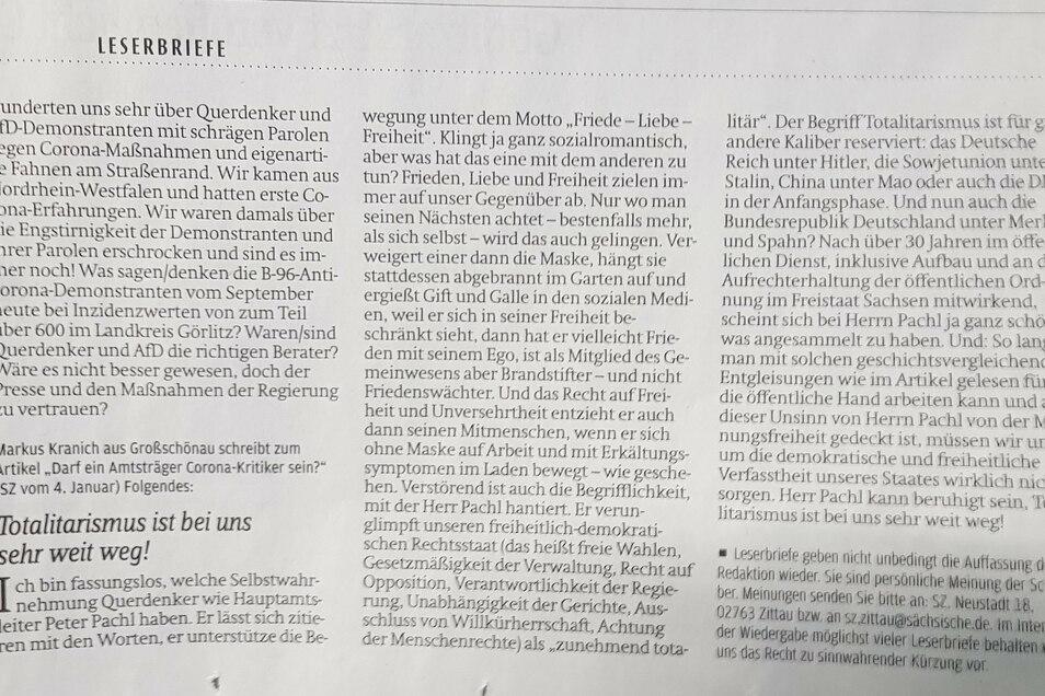 Der Leserbrief von Markus Kranich vom 6. Januar in der SZ.