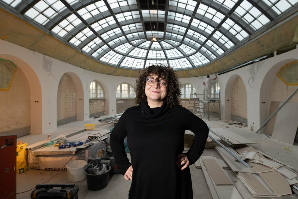 Sieht noch nicht nach Friseur aus, soll aber der erste Salon ohne Müll werden: Juliette Beke in ihrem neuen Reich in Dresden.