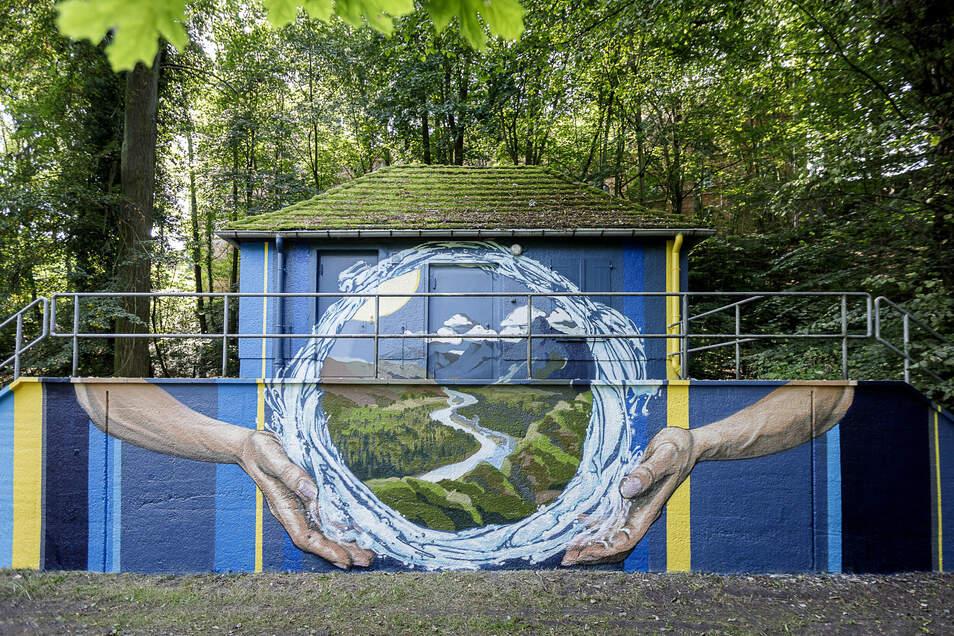 Diesen Wasserkreislauf hat der Künstler Sokar Uno von Freitag bis Sonntag auf die Abwasser-Pumpstation am Neißeufer, direkt unterhalb der Landskron-Brauerei, gemalt.