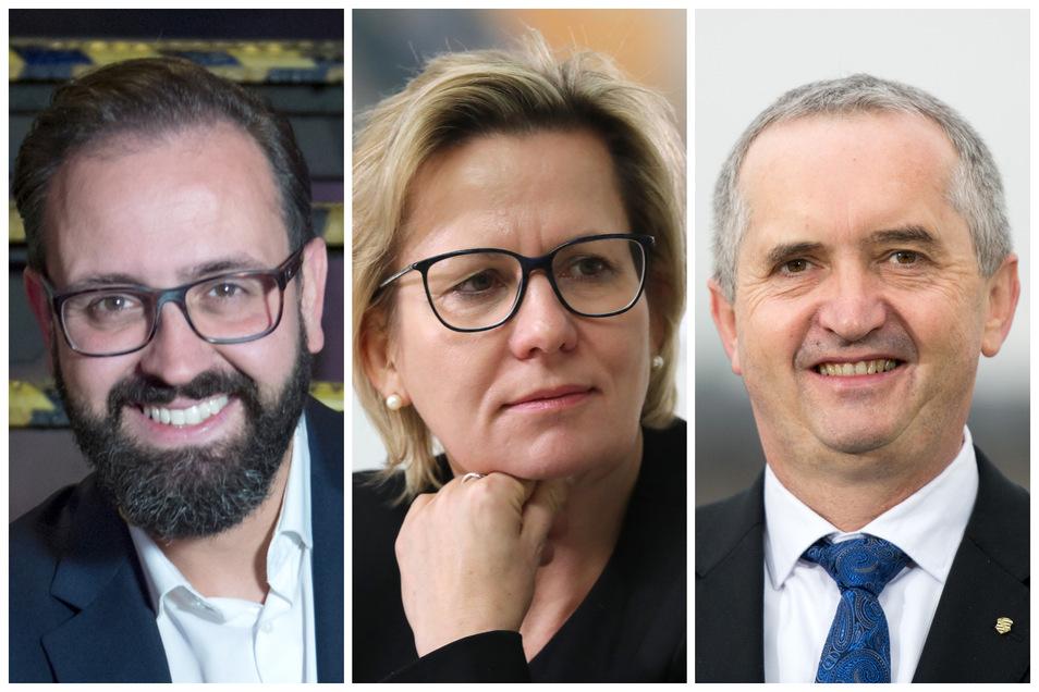 Verlieren ihren Job: (v. l.) Justizminister Sebastian Gemkow, Sozialministerin Barbara Klepsch und Minister Thomas Schmidt (Umwelt/Agrar).