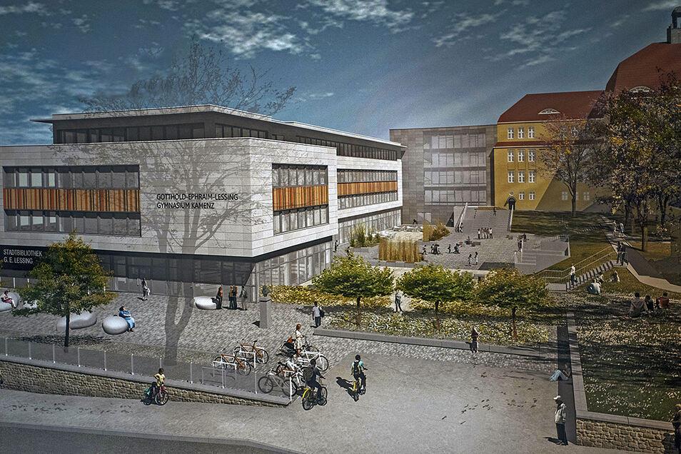 So wird der Schulcampus an der Oststraße in Kamenz aussehen. Der historische Teil (r.) wird energetisch saniert. Der Neubau beherbergt auch die neue Lessing-Bibliothek. Fehlt nur die Turnhalle. Vorerst wird mit einem Shuttle an den Flugplatz gependelt.