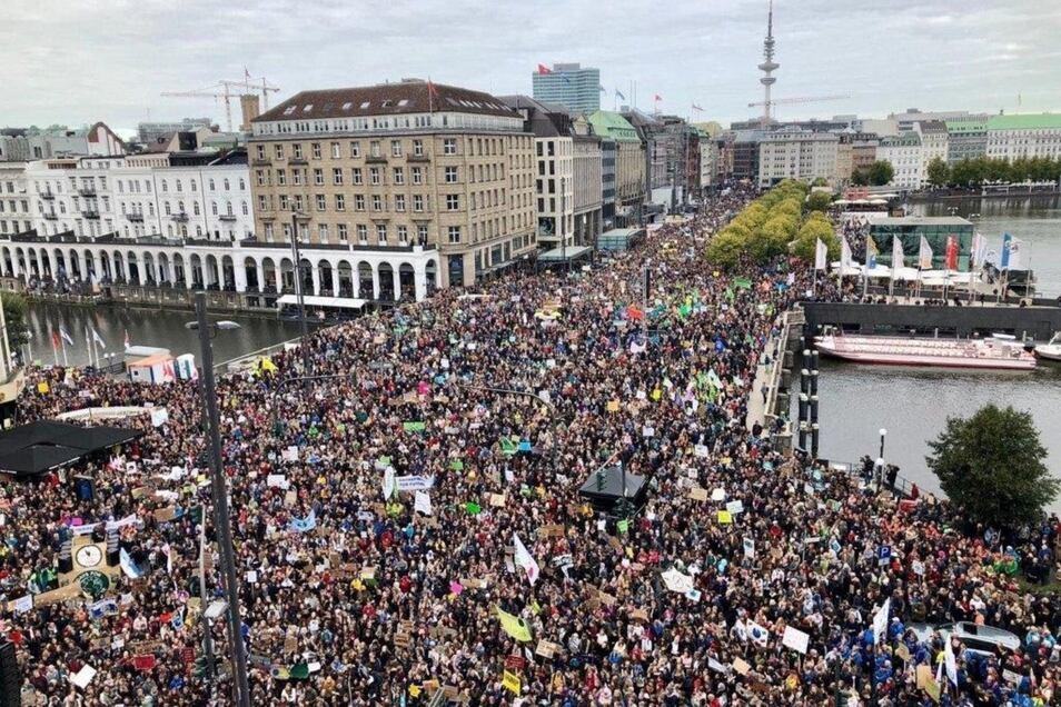 Eine Fridays-for-Future-Demonstration in Hamburg