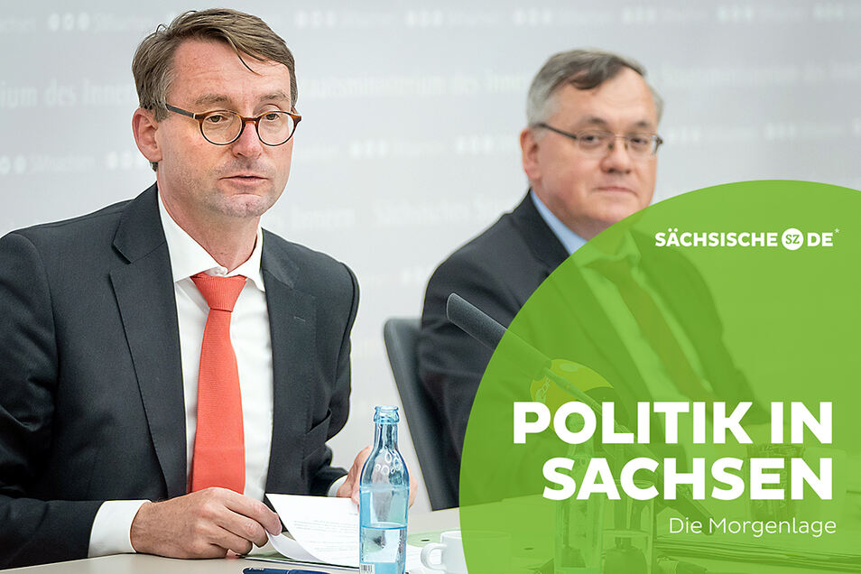Innenminister Roland Wöller (l.) und der Chef des Landesverfassungsschutzes, Dirk-Martin Christian