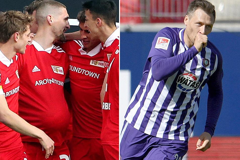 Frohe Oster-Botschaften: Bei Robert Andrich wölbt der Ball das Trikot zum Babybauch, Sören Gonther jubelt mit dem Daumen im Mund.