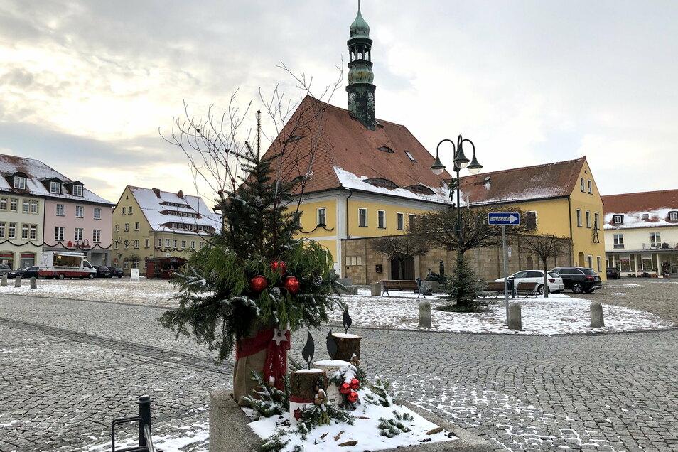 Die sonst mit üppigen Blumen geschmückten Kübel um den Marktplatz von Neustadt bieten jetzt weihnachtliche Lichtblicke.