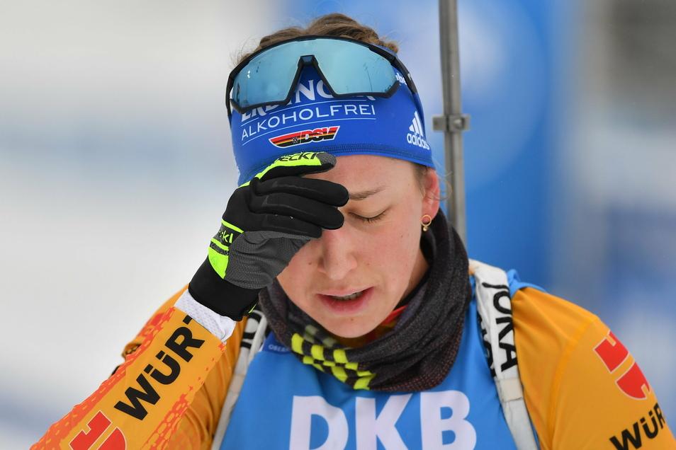 Frust? Enttäuschung? Erschöpfung? Franziska Preuß hadert mit ihren Leistungen beim Weltcup in Oberhof.