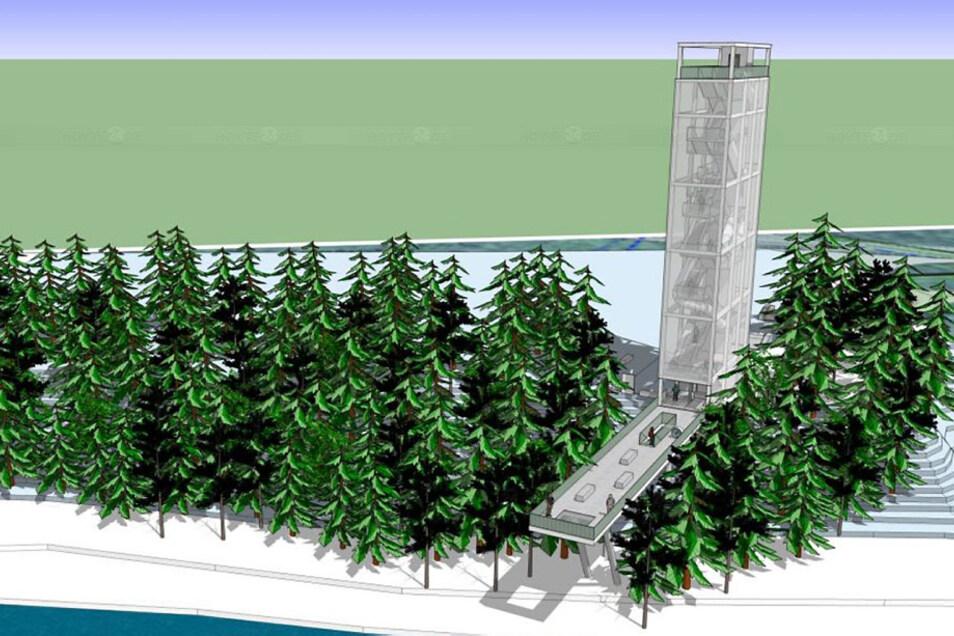 Der kommunale Zweckverband Lausitzer Seenland Sachsen plant auf der Hoyerswerdaer Seite des Sees einen 28 Meter hohen Ausguck – mit einer Terrasse in Richtung des Ufers.