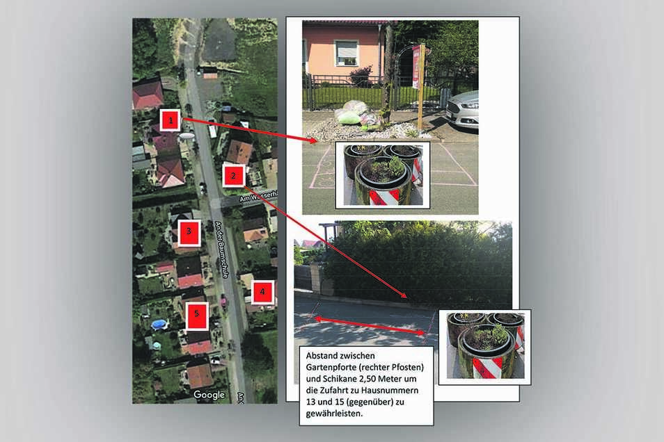 So sieht der Vorschlag der Anwohner aus. An fünf Stellen entlang der Anliegerstraße An der Baumschule sollten Schikanen errichtet werden.