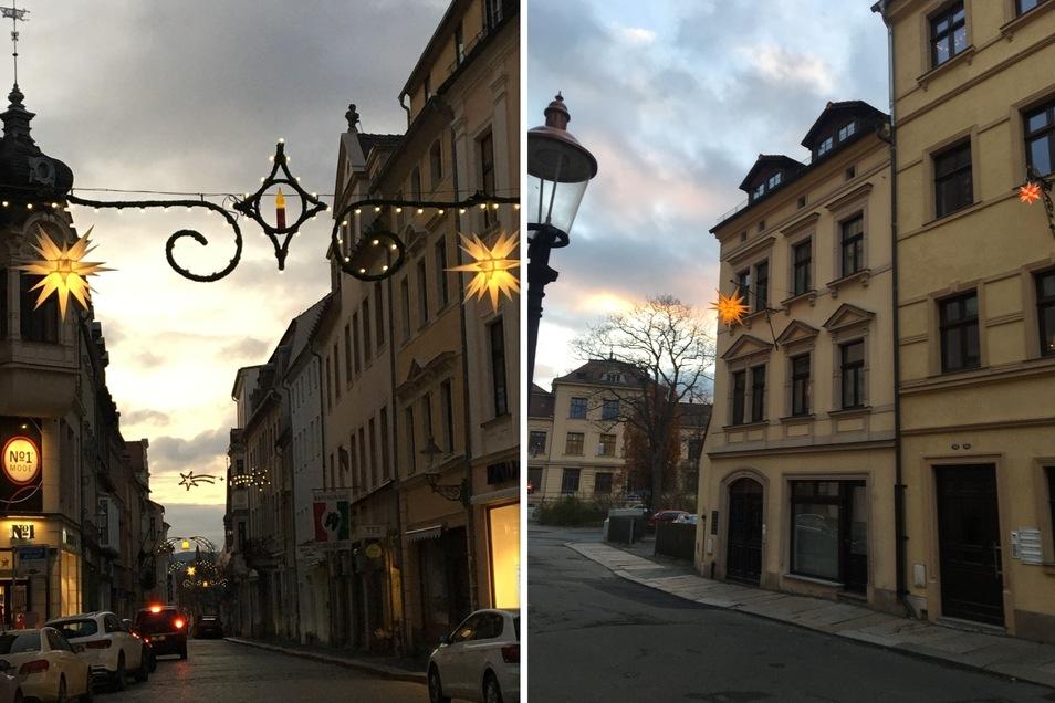 Den weihnachtlichen Schmuck auf der Inneren Weberstraße und Böhmischen Straße in Zittau hat Heike Schwalbe bildlich festgehalten.