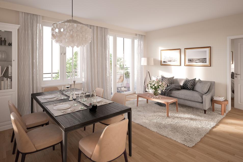 Sie erwartet ein modern ausgestattetes Wohnzimmer mit Balkon oder Terrasse, Fußbodenheizung und Parkettboden.