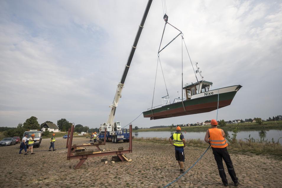 Ein Kran hebt die Fähre am Freitagmorgen in Strehla in die Elbe.