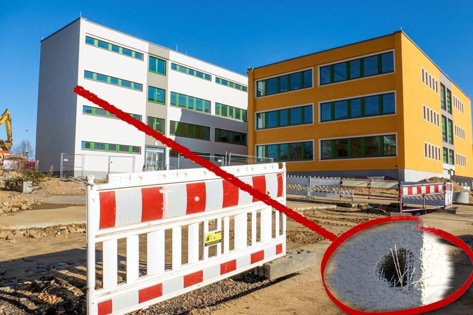 An der Fassade der Grundschule Am Storchenbrunnen macht sich vermutlich ein Buntspecht zu schaffen. Auf den Bauablauf haben die Schäden keinen Einfluss. Sie zu beseitigen, ist aber aufwendig.