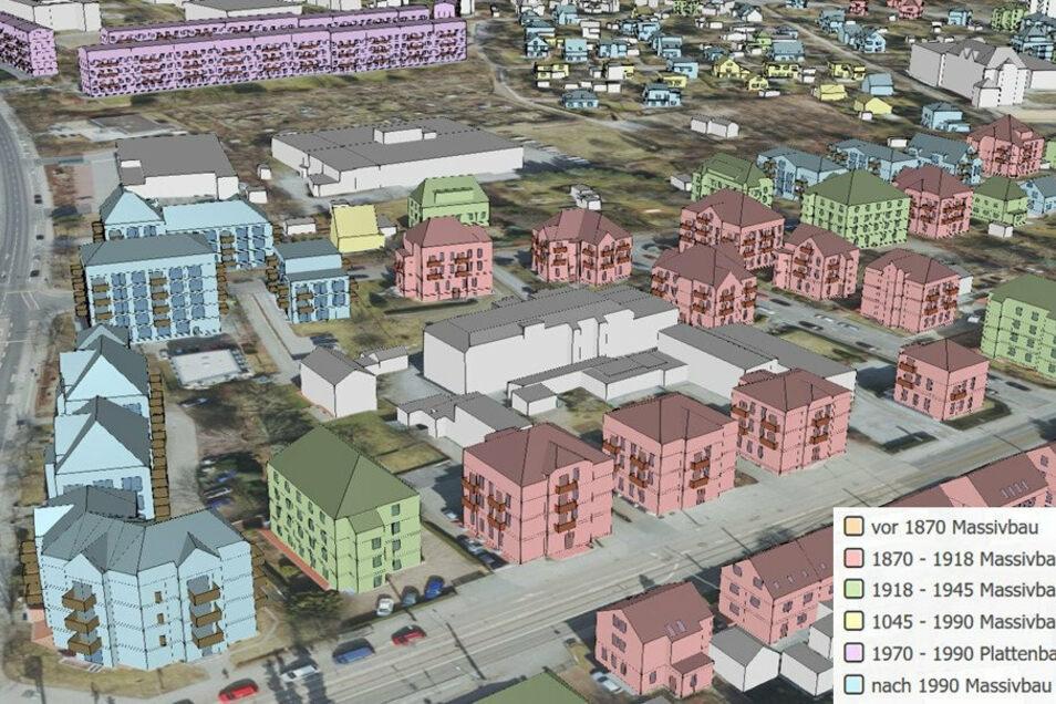So sieht das 3-D-Stadtmodell für das Testgebiet in Klotzsche aus. Links verläuft die Karl-Marx-Straße, unten die Königsbrücker Landstraße. Anhand der Farben ist erkennbar, in welche Kategorie die Gebäude eingestuft werden.
