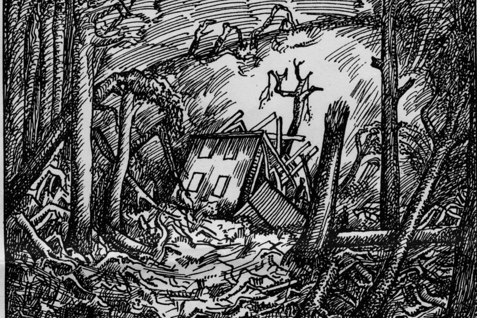 Zeitgenössische Darstellung der Sturmkatastrophe vom 29. Juli 1933 im Wilischgebiet.