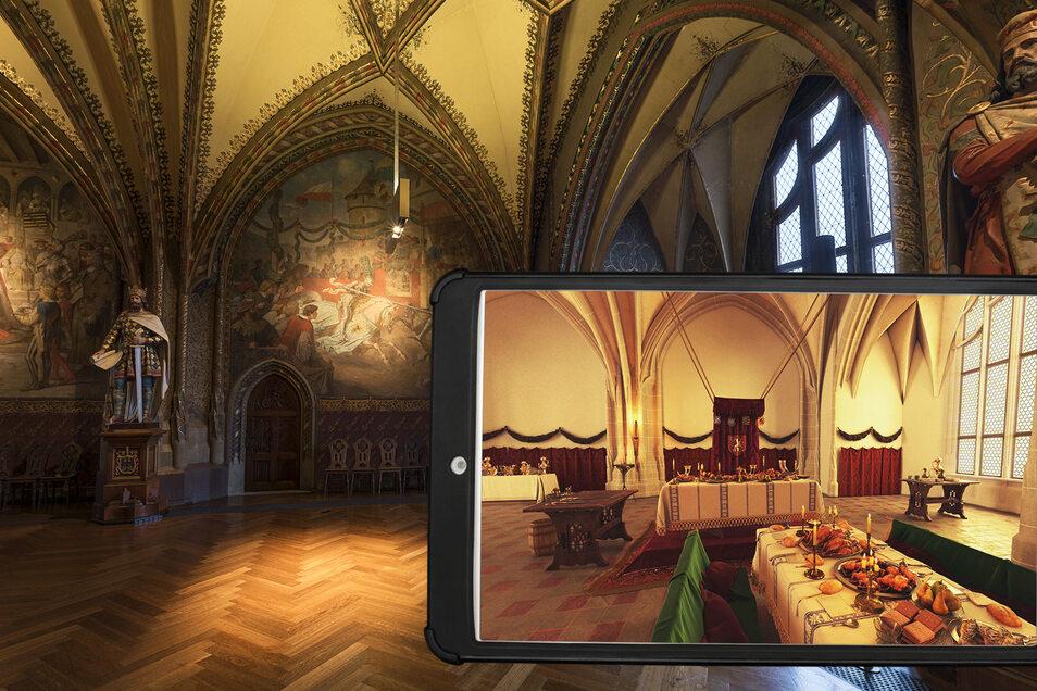 Das HistoPad zeigt die einstmalige Einrichtung der Großen Hofstube originalgetreu.