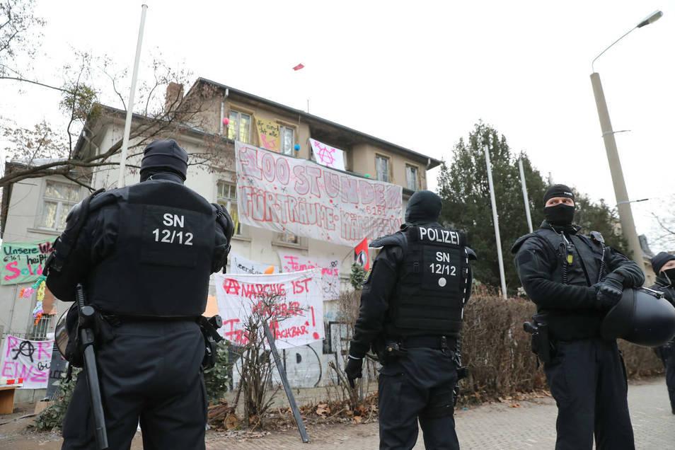 Im Januar wurden Häuser an der Königsbrücker Straße besetzt.