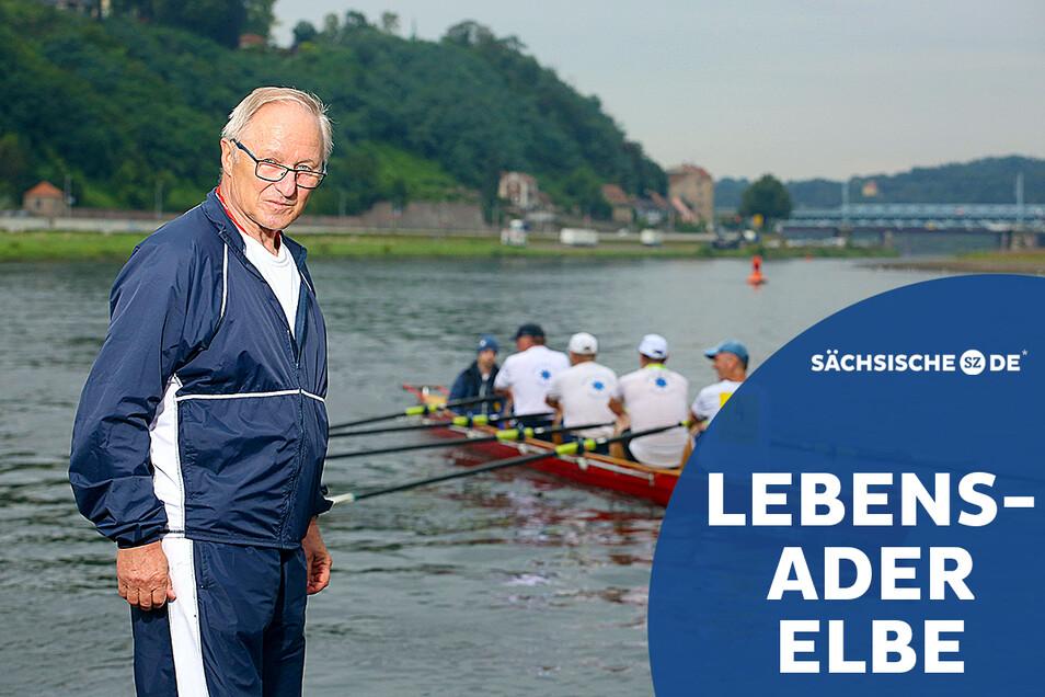 Wolfgang Kussatz rudert auch noch mit 73 Jahren auf der Elbe. Zudem schreibt er die Chronik des Meißner Ruderclubs Neptun 1882 an der Siebeneichener Straße fort.