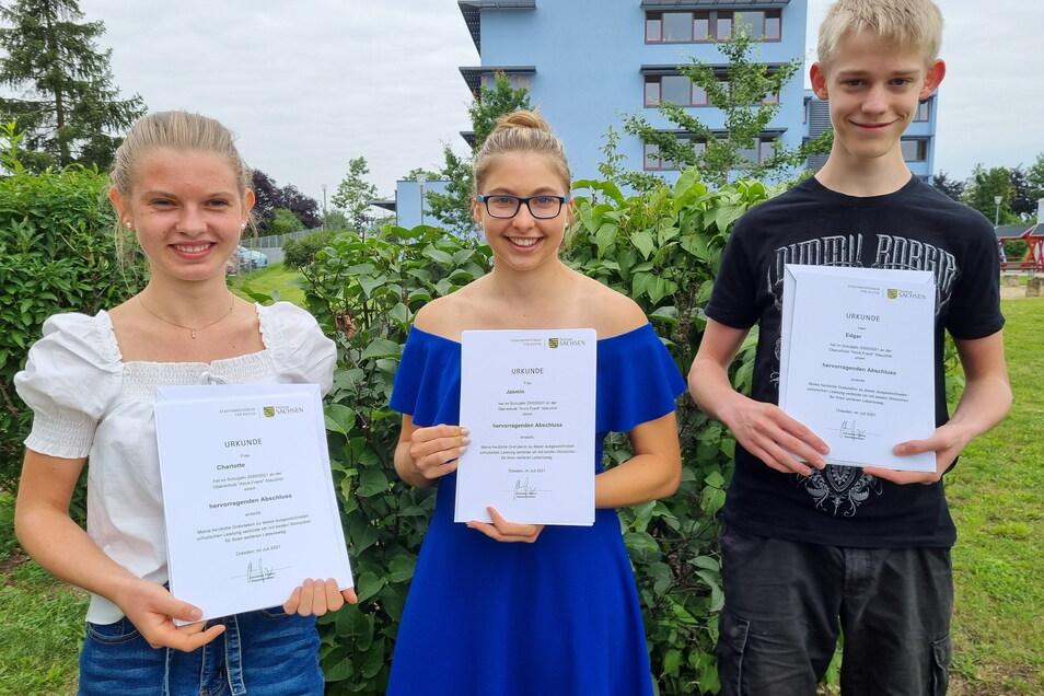 Die Besten der Oberschule Stauchitz: Jasmin Beuchler, Charlotte Dossmann und Edgar Löwe.