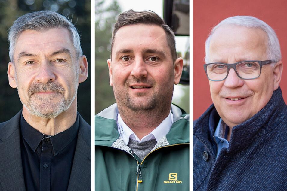 Sie wollen sich als Bürgermeister für Hähnichen am 25. April wählen lassen: Heiko Titze (51), Patrick Schultze (36) und Matthias Zscheile (60).