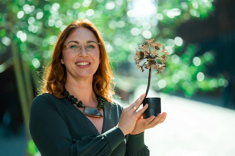 Jacqueline Hausotte, Inhaberin der JH Steingestaltung GmbH aus Leipzig, ist Sachsens erfolgreichste Gründerin 2021.