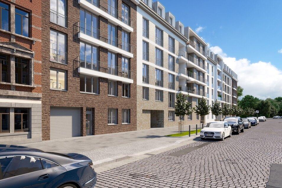 Auf der langen Fläche bis zur Fritz-Reuter-Straße soll der Neubau an die Bestandshäuser im Viertel angepasst werden - mit verschiedenen Klinkerfassaden.