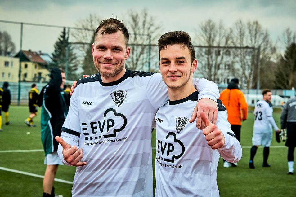 Maximilian Unger (rechts) bleibt dem VfL Pirna-Copitz erhalten, bei Kai Weska steht die Entscheidung noch aus.