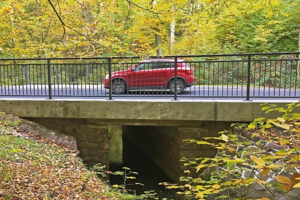 Das Foto zeigt die unscheinbare Brücke im Spitzgrund über den Lockwitzbach.