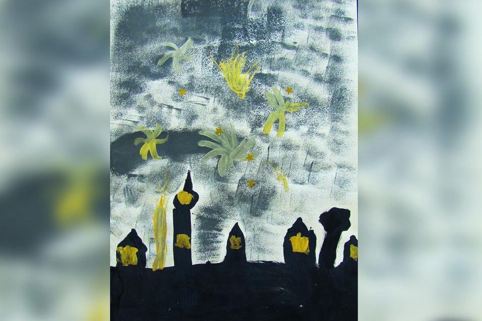"""""""Feuerwerk"""" heißt das Bild von Amelie Banowski, die ebenso die 3. Klasse der Grundschule Großbauchlitz besucht. Die Arbeit entstand in Kombination verschiedener Maltechniken: Schwammtechnik, Collage, Temperamalerei. Amelie sagt, dass ein Feuerwerk wunders"""