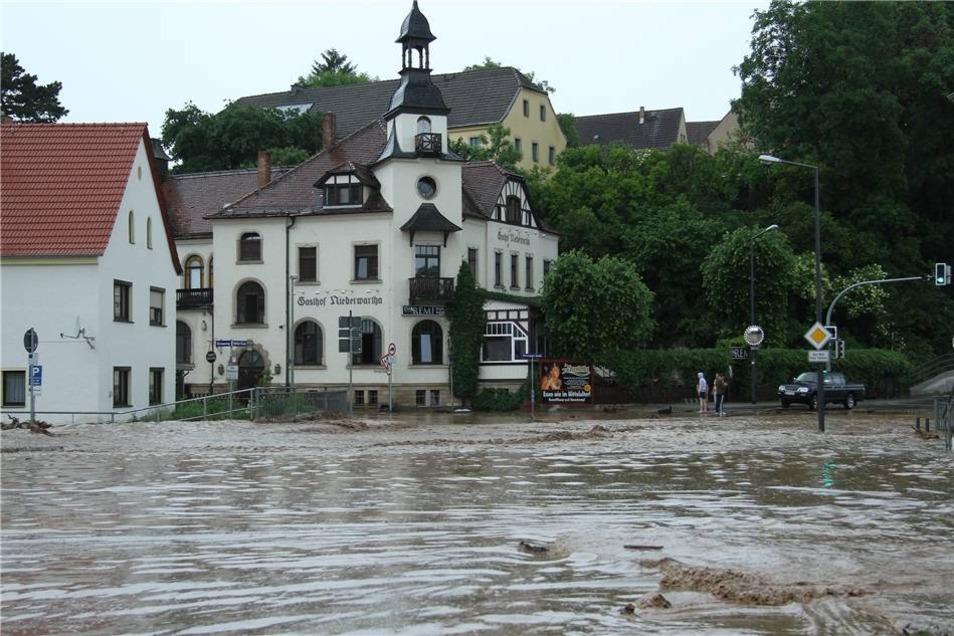Das Unwetter ist am Dienstag auch über den Dresdner Stadtteil Niederwartha gezogen.