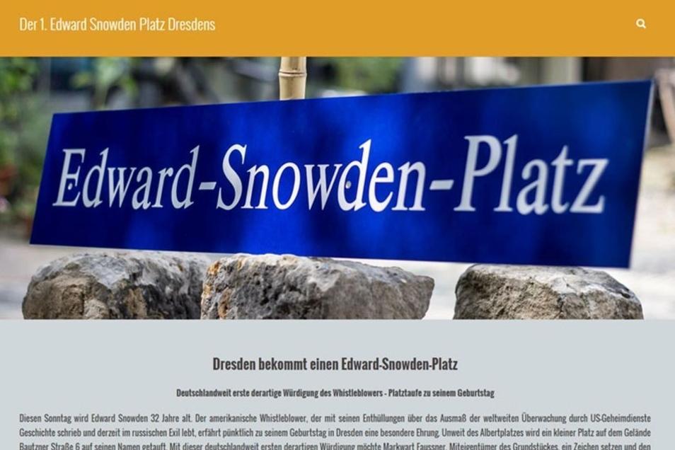 Die Organisatoren der Aktion haben eigens eine Webseite zum geplanten Edward-Snowden-Platz eingerichtet.