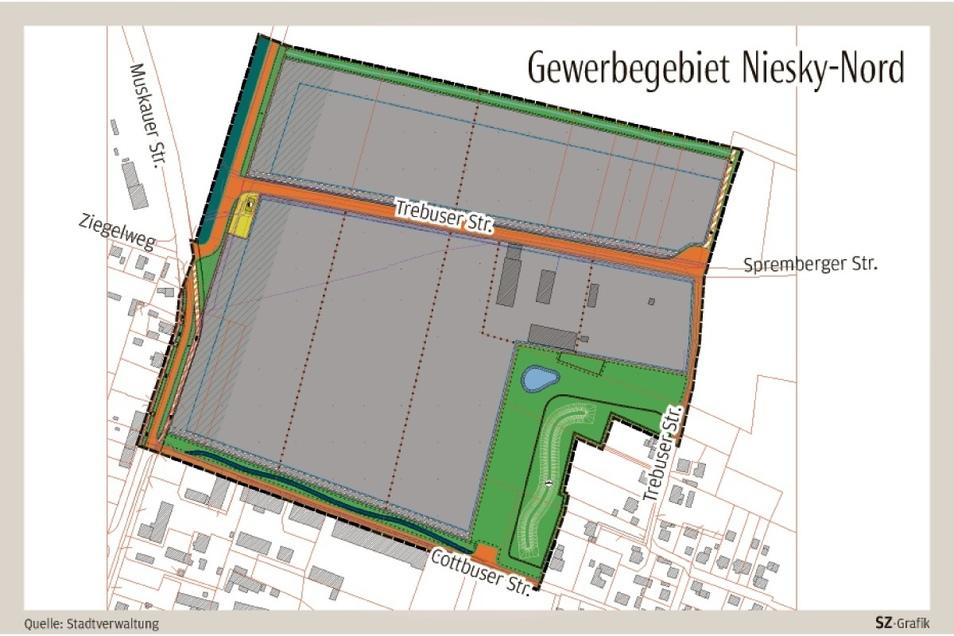 19 Hektar beträgt die Gesamtfläche des Areals, auf 14 Hektar sollen sich Unternehmen ansiedeln können - oberhalb der Trebuser Straße im Industriegebiet, unterhalb im Gewerbegebiet.