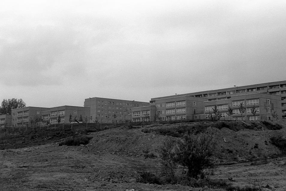Und so sah das Kidrontal (hier mit Blick zur Scultetusstraße) noch 1989 aus. Damals überwog in Königshufen das Grau.