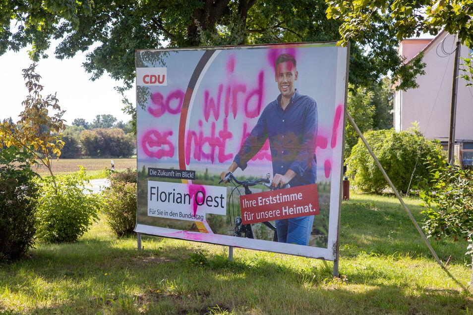 Wahlwerbung von CDU-Direktkandidat Florian Oest in Horka.