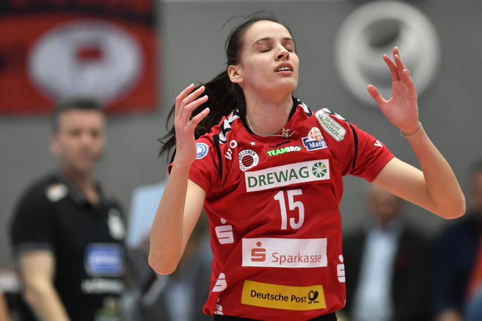 Ivana Mrdak spielte drei Jahre für den Dresdner SC und holte in dieser Zeit zwei Pokale. Beim letzten Finale in Mannheim musste die Serbin allerdings unfreiwillig zuschauen.