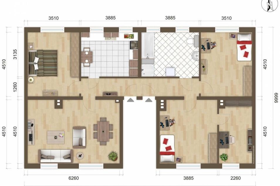 Der geplante Grundriss der Wohnung