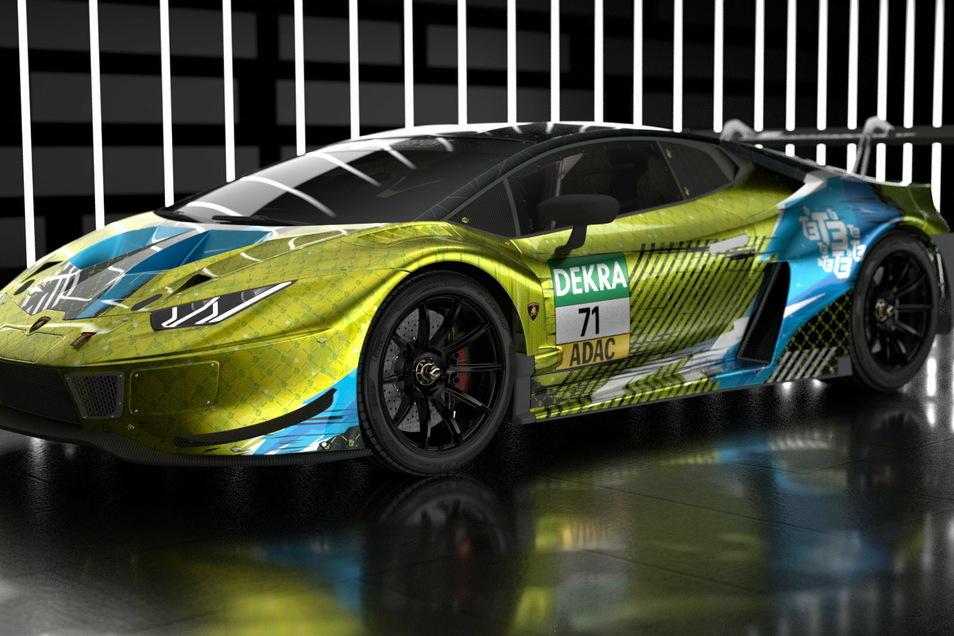 Mit diesem Lamborghini Huracan steigt das Dresdner Motorsport-Team T3 in die DTM ein.
