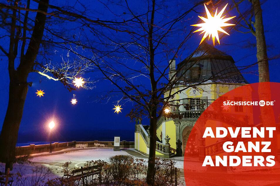 Weihnachtlich illuminiert, doch keiner kann es sehen: Die Friedrichsburg auf der Festung Königstein.