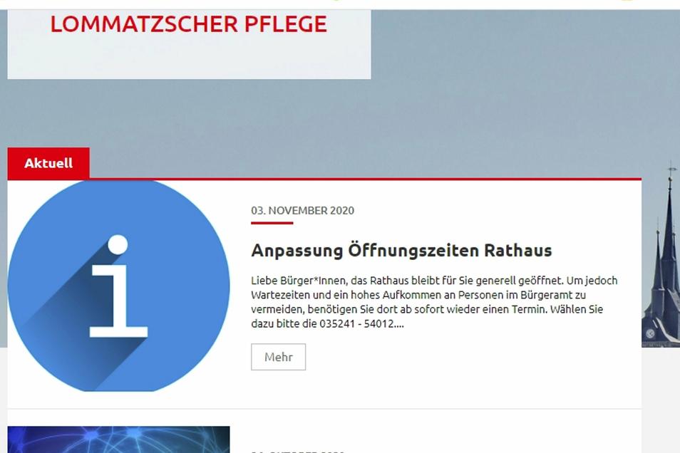 Auf der Homepage der Stadt Lommatzsch wurde jetzt das Gendersternchen verwendet.