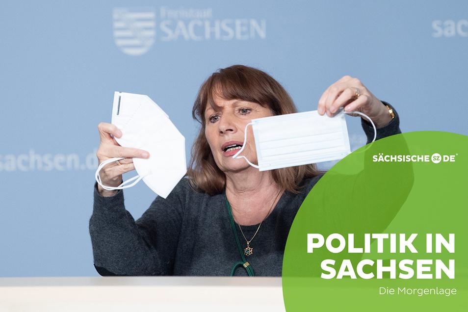 Sachsens Gesundheitsministerin Petra Köpping zeigte am Dienstag die Masken, die nun an manchen Orten Standard sind.