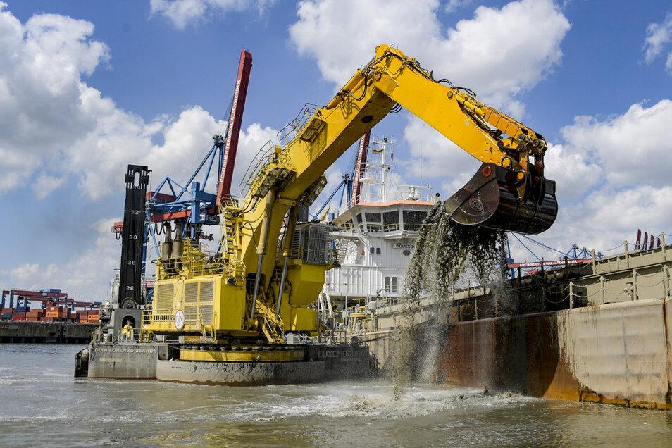 Ein Bagger holt bei Arbeiten zur Elbverteifung Schlick aus einem Hafenbecken. Inzwischen haben die Bagger die Arbeit beendet.