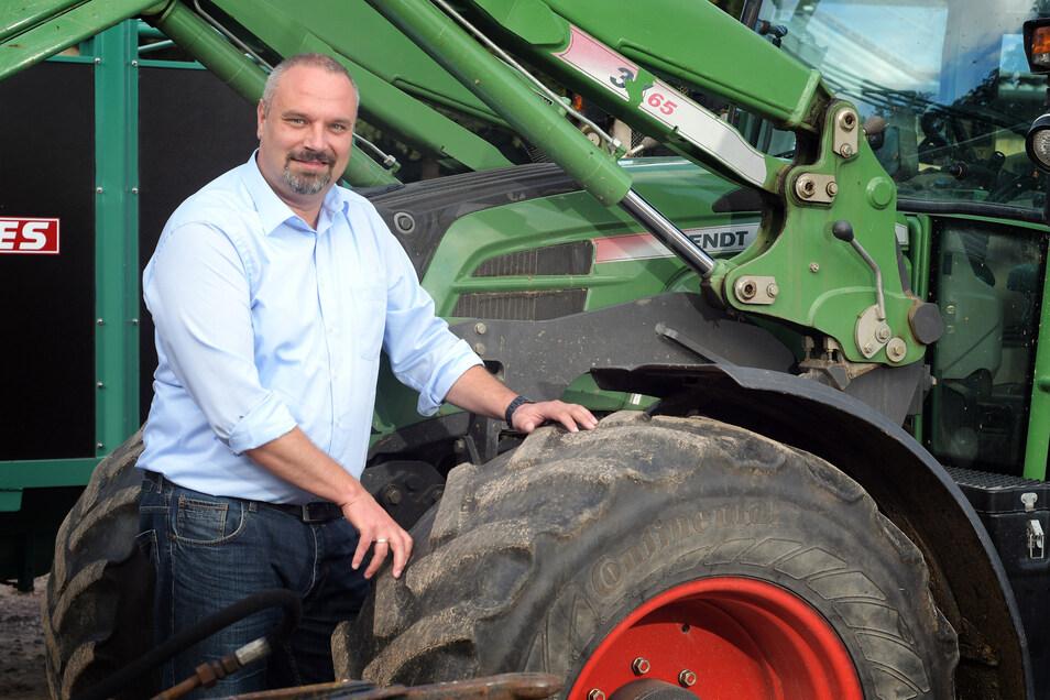Torsten Krawczyk baut bei Döbeln Getreide an und hält Schweine. Als neuer Bauernpräsident will er sich mit dem neuen Agrarminister möglichst vertragen.