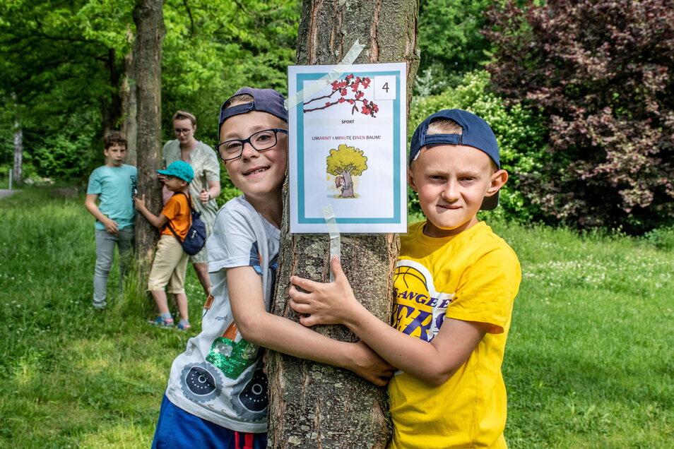 Warum nicht mal mit Pflanzen kuscheln? Jonas und Moritz aus der Regenbogenschule umarmen in den Klostergärten einen Baum.