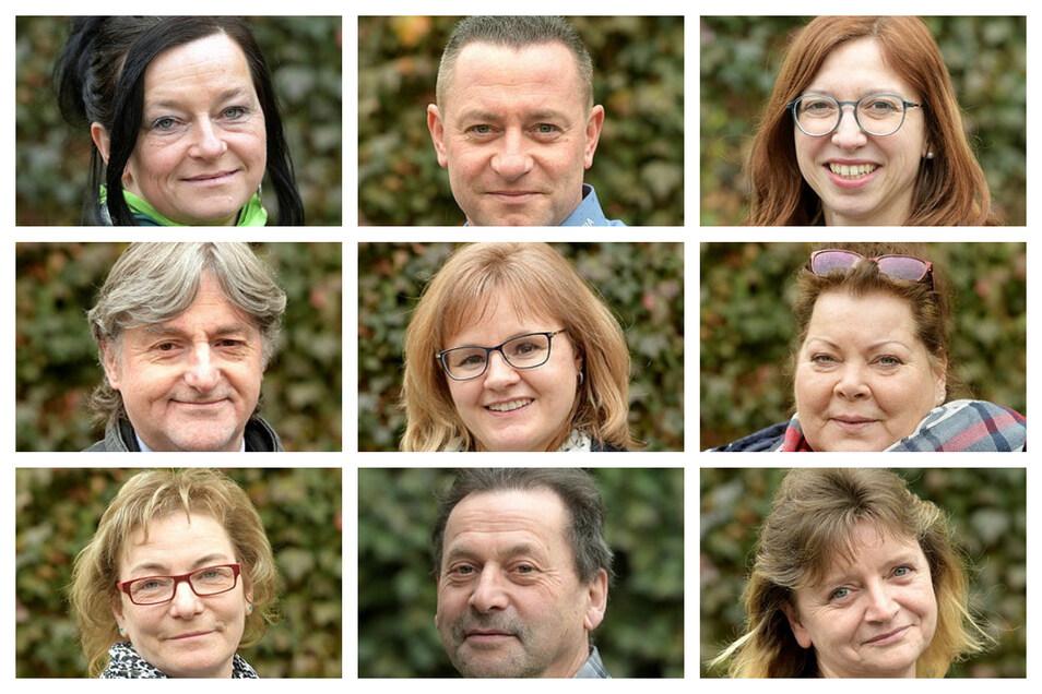 Andrea Kühnel, Stephan Häber, Stefanie Gröllich, Christian Scharf , Peggy Lange (Geschäftsführerin), Patra Salomo, Christina Neumann, Gunter Wünsche, Susanne Kaiser (v. o. l. n. u. r.).