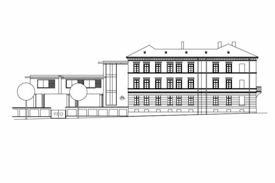 So soll die Evangelische Oberschule von der Jakob-Böhme-Straße aus aussehen. Linkerhand ist der Anbau.