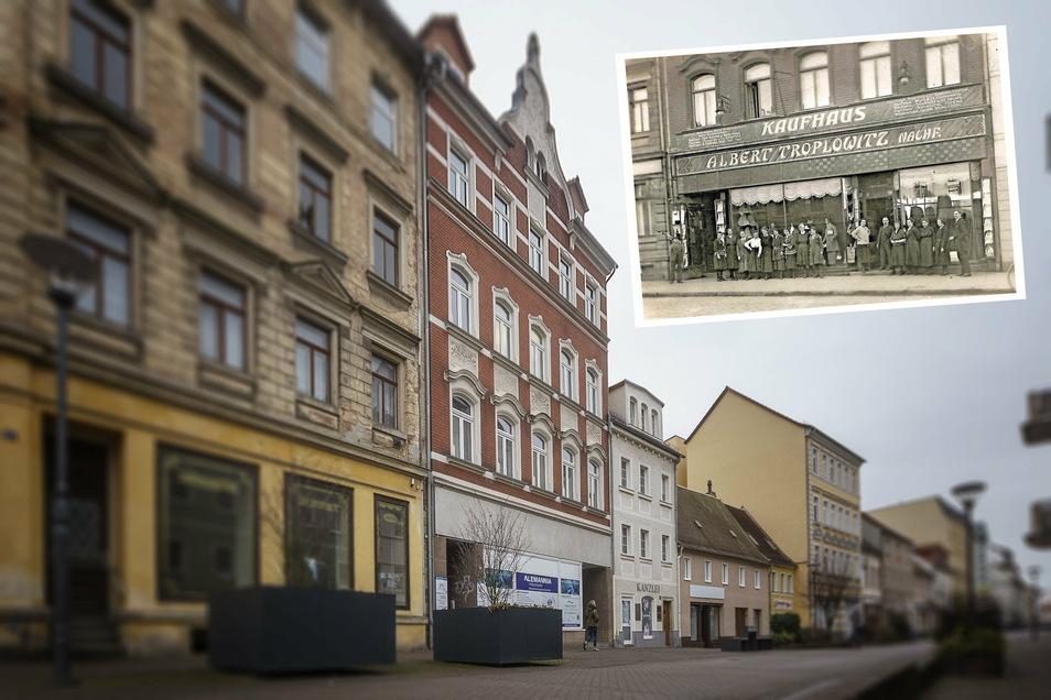 Die Hauptstraße 19 in Riesa (Mitte) hat eine bewegte Historie. In dem um die vorletzte Jahrhundertwende errichteten Bau befand sich einst das Kaufhaus Troplowitz (kl. Foto), dessen jüdische Besitzer von den Nazis verfolgt und ermordet wurden.