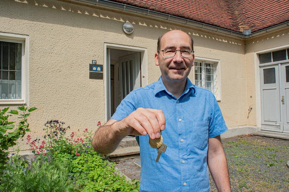 Ab Juli können sich Pilger wieder den Schlüssel für die Pilgerherberge am Turm auf dem Kamenzer Hutberg holen, sagt Pfarrer Michael Gärtner. Der Schlüssel ist in der Kamenzer Stadtinformation hinterlegt.